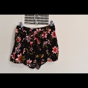 Floral Shorts with Front Tie
